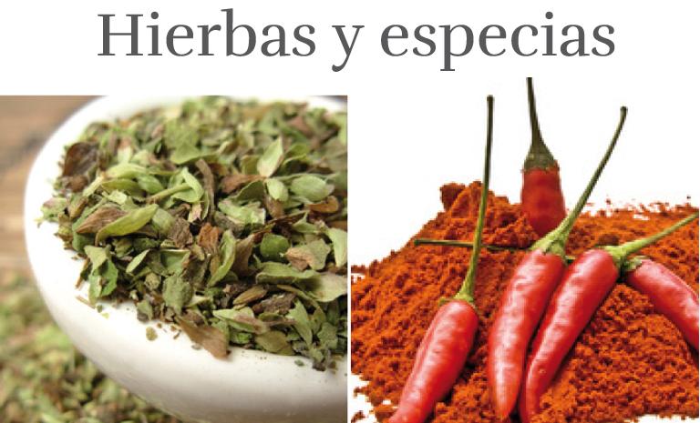 Hierbas y especias en la cocina